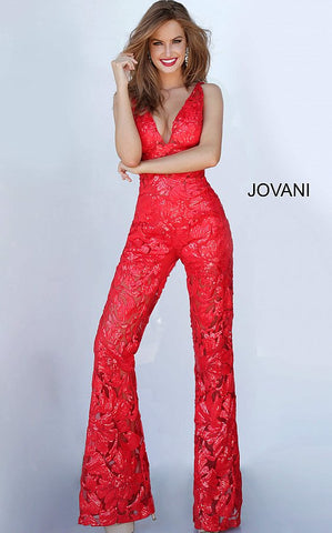 Jovani 00474 is a Long Jumpsuit featuring a sheer embellished sequin Floral Lace pattern. Deep V Neck Sleeveless Pant suit. Open V Back. Perfect for prom, pageants & any formal or semi formal event!  Available Colors: black, light-blue, red, rose/gold, white, yellow  Available Sizes: 00-24