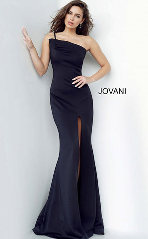 Jovani 00567 Long Ruched Asymmetric Neck Evening Gown Prom Dress Slit Train 2020