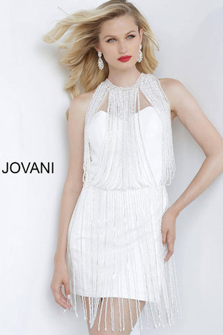 Jovani 00570 Shirt Fitted Cocktail Dress Pearl Fringe Homecoming Gown 2020 Embellished