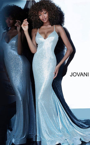 Jovani 00592 Metallic Fitted Mermaid Prom Dress Pageant Gown Backless 2020