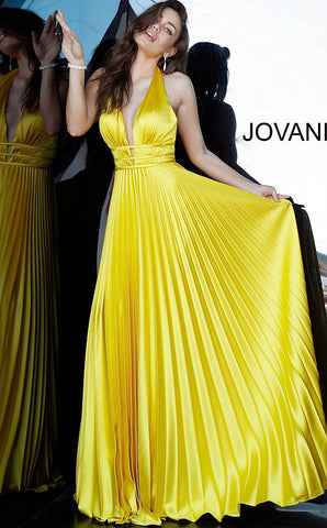 Jovani 00637 is a Satin Pleated Skirt Prom Dress. This Gown Featuring a Plunging V Neck Backless Evening Gown. Three waist bands with v neck cutouts. Stunning evening gown. great bridesmaids dress or wedding guest dress. formal & semi formal. Halter  Available Sizes: 00-24  Available Colors: emerald, ice pink, royal, yellow