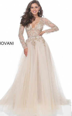 Jovani 00638 Sheer Long Sleeve A Line Formal Dress Beaded V Neck Gown Evening Glass Slipper Formals