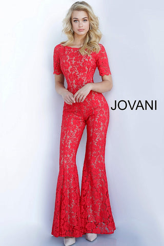 Jovani 00651 Embellished Lace Short Sleeve Prom Jumpsuit Romper Bell Bottom 2020 Dress
