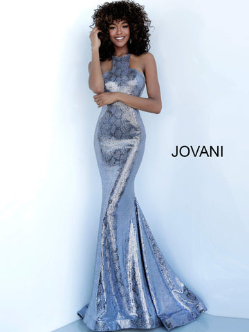 Jovani 00686 Long Shimmer 2020 Prom Dress Mermaid Snake Print High Neck Gown