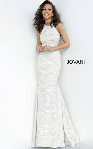 Jovani 00688 Long Metallic Shimmer Fitted Mermaid Prom Dress Pageant Racer Back