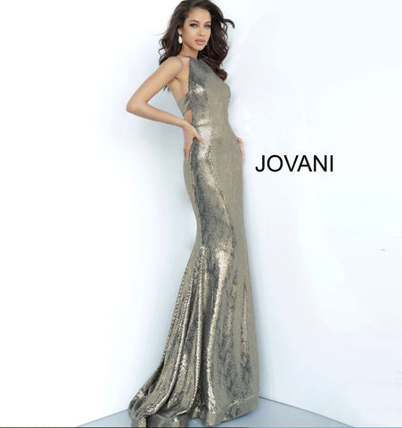 Jovani 00689 Metallic Fitted Mermaid Prom Dress Racer Back High Neck Pageant