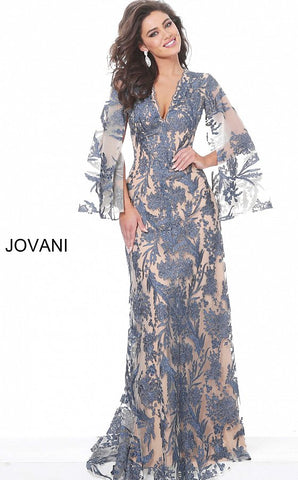 Jovani 00752 Long Navy Lace Formal Evening Dress Long Drape Sleeve Maxi Gown