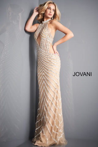 Jovani 00817 This nude white formal dress features a fitted silhouette in chevron beaded mesh over a stretch lining, with a high halter neckline and open back. Sheer illusion cutouts adorn the midriff and hips. Rows of Crystal accented embellishments. Choker halter neckline with an open back. Great formal evening gown & It's Red Carpet Ready! Available Sizes: 00,0,2,4,6,8,10,12,14,16,18,20,22,24  Available Colors: Nude/White