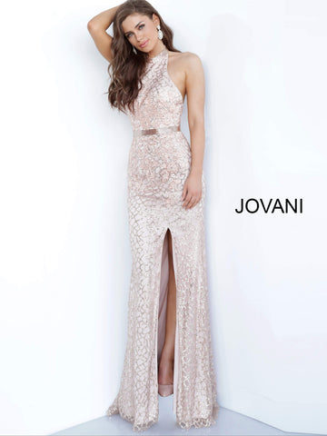 Jovani 00847 Long Embellished Shimmer 2020 Prom Dress High Neck Slit Glitter Gown