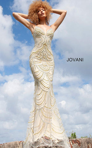 Jovani 00861 Long Fitted Embellished Scallop Prom Dress Mermaid Evening Gown