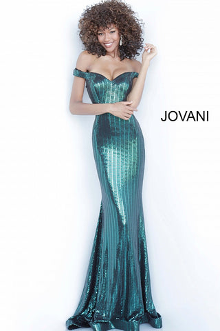 Jovani 00974 Metallic Shimmer Long Prom Dress Mermaid Off Shoulder Iridescent 2020