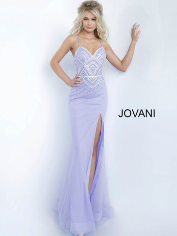 Jovani 00977 Long Fitted Embellished 2020 Prom Dress V Neck Gown Mermaid Slit Lilac