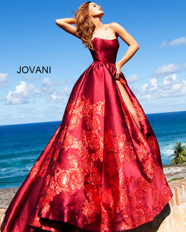 Jovani 02038 Floral Ballgown Long Print Prom Dress Slit Strapless Designer