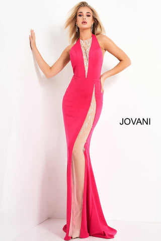 Jovani 02086 This extravagant prom dress has a sheer embellished plunging neckline to the waistline and a high illusion embellished sheer slit.  This sexy evening gown is backless and finishes with a sweeping train. Colors:  Black, Hot Pink, Off White, Yellow  Sizes:  00-24