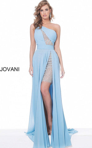 Jovani 02114 Perriwinkle one shoulder chiffon prom dress