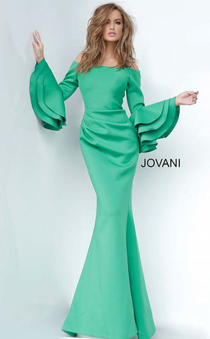 Jovani 02140 Long Off the Shoulder Bell Sleeve Dress Evening Gown Ruched Ruffle 2020