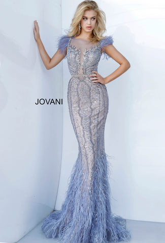 Jovani Couture 02326 Long Feather Mermaid Pageant Dress Mermaid Evening Gown