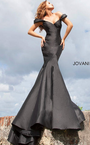 Jovani 02359 Long Off the shoulder Mermaid Prom Dress Pageant Gown 2020 Train