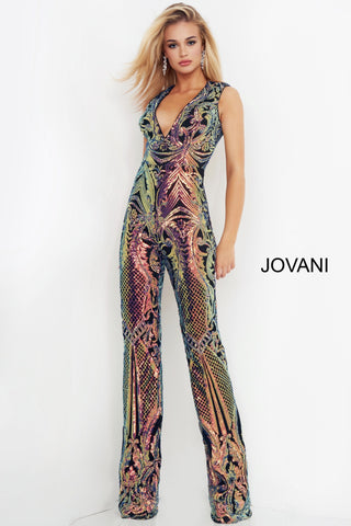Jovani 02469 is a Gorgeous Long Fitted Fully sequin embellished formal jumpsuit for prom, pageants & More! Deep V Neckline with cap sleeves and a full coverage back. straight pant legs on this formal jump suit. Stunning & Versatile Formal Wear Style! Available Sizes: 00,0,2,4,6,8,10,12,14,16,18,20,22,24  Available Colors: Black/Green, Black/Purple
