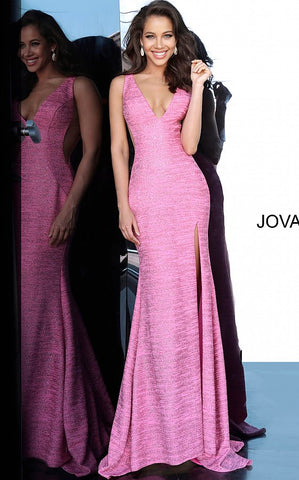 Jovani 02472 Long Fitted Glitter Jersey Prom Dress Sheer V Neck Shimmer Pageant