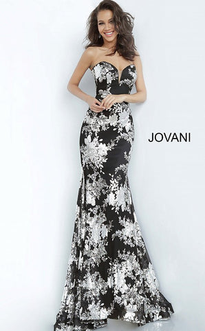 Jovani 02475 Long Floral Print Prom Dress Plunging Sweetheart Evening Gown Formal