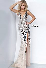 Jovani 02479 Long Cut Glass V Neck Slit Prom Dress Evening Pageant Gown 2021