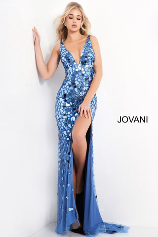 Jovani 02479 is a long sheath silhouette with a high slit. Deep V Neckline with sheer side mesh panels.  Cut Glass Embellishments cluster along the bodice and disperse as they cascade into the nude skirt.  Sexy Evening Gown Flashy Couture Cut Glass Prom & Pageant Dress. Formal Evening Gown.   Available Colors: Emerald, Nude, Perri  Available Sizes: 00-24