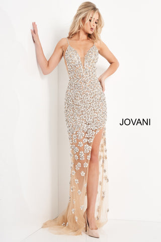 Jovani 02492 is a Stunning Nude Sheer formal evening gown. Red Carpet Ready! Plunging deep V Neckline with embellished spaghetti straps. open back, Backless, This gown features a wide side slit and sheer skirt with sweeping train. Fully Embellished with Crystal Rhinestones, Sequins & Beading. Great Special event Gown! Available Sizes: 00,0,2,4,6,8,10,12,14,16,18,20,22,24  Available Colors: Nude
