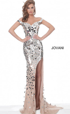 Jovani 02500 Long Fitted Nude evening dress, fully embellished with cut glass, form fitting silhouette, floor length skirt with sweeping train and high slit, off the shoulder bodice with sweetheart neckline. Stunning Formal Evening Gown, Red Carpet & Pageant Wear. Glass Slipper Formals