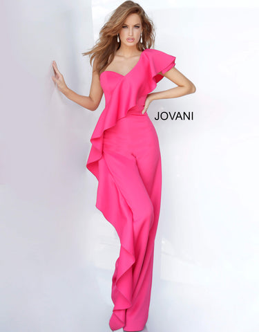 Jovani 02617 is a Prom & Pageant Long One Shoulder Jumpsuit with a ruffle accent along the entire length down one straight pant leg.   Available Colors: black, fuchsia, royal, white, yellow  Available Sizes: 00-24