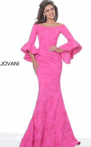 Jovani 02748 Fuchsia Off the Shoulder Bell Sleeve Evening Dress Mermaid Gown
