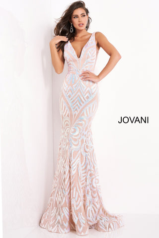 Jovani 02753 is a long fitted mermaid silhouette formal evening gown. Featuring a deep V Plunging neckline with an open v back. sheer side panels with mesh inserts. Scrolling sequin pattern accentuates curves. waist belt. Fit & Flare Silhouette with a lush trumpet skirt. sweeping train has this Pageant Gown stage ready!  Available Sizes: 00,0,2,4,6,8,10,12,14,16,18,20,22,24  Available Colors: black/peacock, blush/nude, lilac/nude, yellow