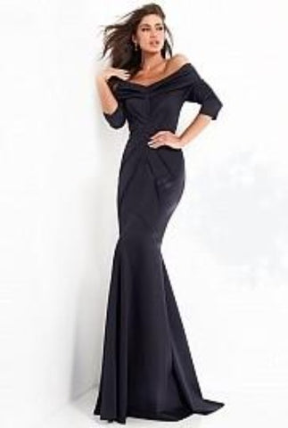 Jovani 02760 Floor length form fitting stretch navy evening dress features three quarter sleeve ruched bodice with V neckline and V back.  Mother of the bride, guest dress.