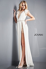 Jovani 02833 Floor length form fitting off white evening dress with sheer romper shorts underneath and high slit features sleeveless bodice, feather shoulders and open back.