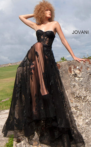 Jovani 02845 Sheer Corset Maxi Skirt Prom Dress Mini Lace Sexy Formal Gown 2020