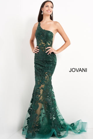 Jovani 02895 is a long fitted one shoulder formal evening gown. Featuring a sheer fitted bodice and skirt. Sequin embellished lace appliques. Mermaid silhouette. sheer side panels with mesh insert. sweeping train with horse hair trim. Great Prom & Pageant Dress.  Available Sizes: 00,0,2,4,6,8,10,12,14,16,18,20,22,24  Available Colors: black, forest, light-blue, red, rose/gold, royal, w