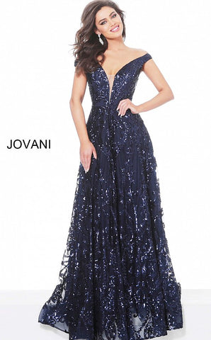 Jovani 02932 Long Navy Sequin Off the Shoulder Evening Dress Plunging A Line
