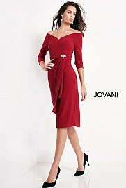 Jovani 02949 Knee length form fitting burgundy crepe evening dress features three quarter sleeve bodice with pleated tie front with brooch and off the shoulder neck.  Ruching and broach at the waistline and small slit in back. Formal Evening Cocktail Wear Dress, Wedding Guest Dress.