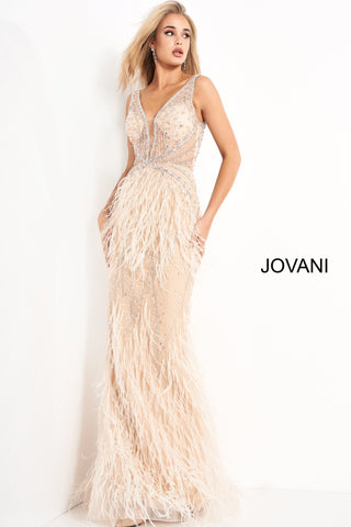 Jovani 03023 is a 2021 Prom Dress, Pageant Gown, Wedding Dress & Formal Evening wear. This Sheer embellished bodice features a plunging v neckline with beading & crystal accents cascading through a feather embellished skirt. Very stunning and unique wedding dress!   Available Colors: Off White, Blush, Black  Available Sizes: 00-24
