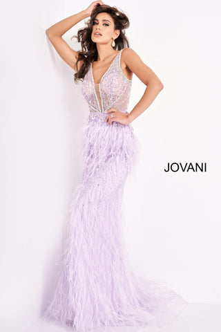 Jovani 03023 Sheer Feather Prom Plunging Neck Wedding Gown Pageant Gown