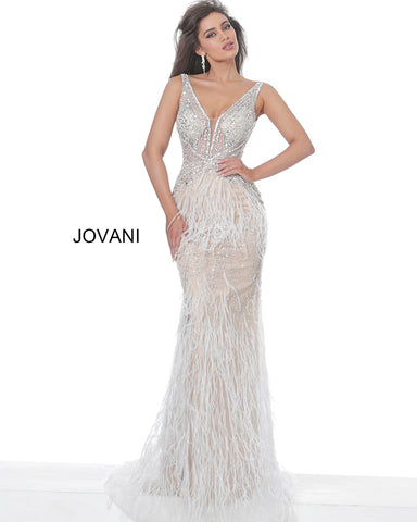 Jovani 03023 Sheer Embellished Prom Dress Feather Plunging Neck Wedding Gown