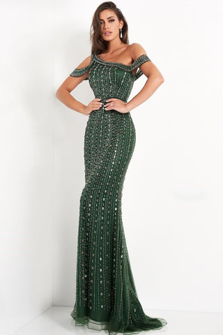 Jovani 03124  Emerald green evening gown features a fitted silhouette with an asymmetrical one-shoulder neckline and band style sleeves.  It features horizontal beading down the floor length of the gown.  Formal Evening Wear Gown, Pageant Gown