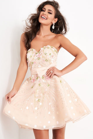 Jovani 03128 Short fit and flare nude multi embellished cocktail homecoming dress features strapless bodice with sweetheart neckline and bow belt.  Formal Wear, Homecoming, Cocktail, Winter Spring Fall Formal Dress.