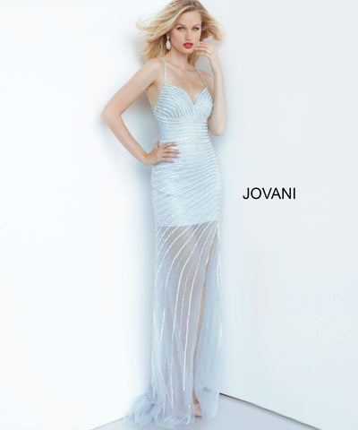 Jovani 03187 Crystal Embellished Sheath Evening Gown V Neck Sheer Slit 2020 Long