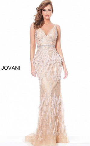 Jovani 03190 Long Rose Gold Lace Fitted Feather Formal Dress V Neck Gown Evening Glass Slipper Formals
