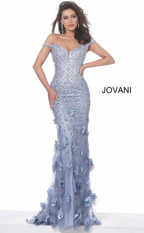 Jovani 03191 Long Fitted Floral Applique Evening Dress Off the Shoulder Pageant