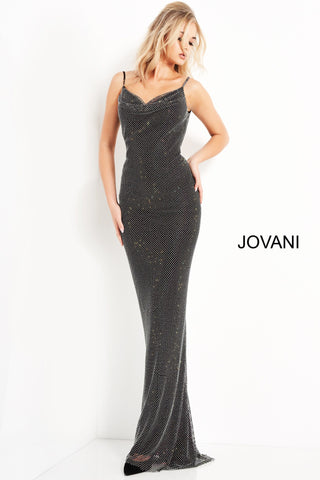 Jovani 03252 Long Fitted Glitter Mesh formal evening gown. Backless prom dress. Cowl neckline, column silhouette. Formal wedding guest gown. Available Sizes: 00,0,2,4,6,8,10,12,14,16,18,20,22,24  Available Colors: Black