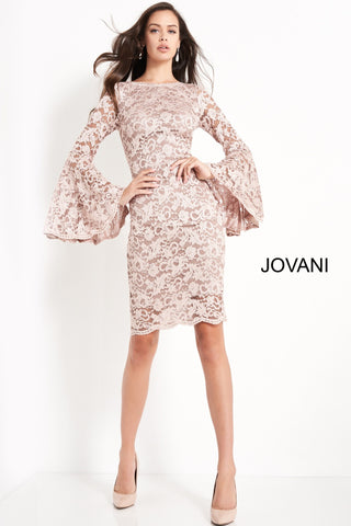 Jovani 03351 boat neckline with long bell sleeves lace knee length fitted cocktail dress embellished lace knee-length evening dress. Features a sheer long bell sleeve fitted bodice with a boat neckline and v-shaped back with zipper. Bodycon midi-length skirt. Available colors:  hunter/black, light blue/nude, plum/black, taupe  Available sizes:  00-24