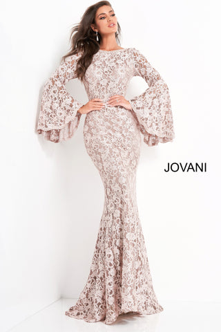 Jovani 03352 boat neckline long bell sleeves fitted lace evening gown mother of the bride or groom dress  lace fitted evening dress with sheer long bell sleeves bodice, a boat neckline and low v-shaped back with zipper. Floor-length bodycon skirt with a gently flared end. Available colors:  hunter/black, light blue/nude, plum/black, taupe  Available sizes:  00-24
