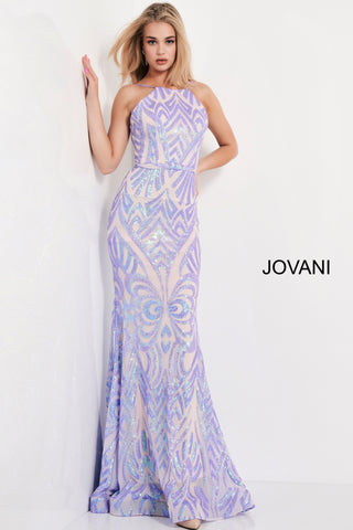 Jovani 03446 This is a long fit and flare prom dress with a high neckline and backless design.  It has a beaded sequins pattern throughout.  Colors black/peacock, blush/nude, lilac/nude, yellow  Sizes  00-24